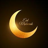 golden eid festival moon background