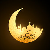 golden eid festival moon with mosque
