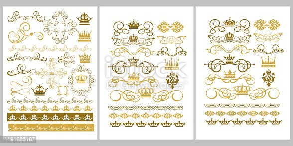 Golden Elements of Design: Borders, Crowns, Frames, Swirl, Scroll. Vector Image.