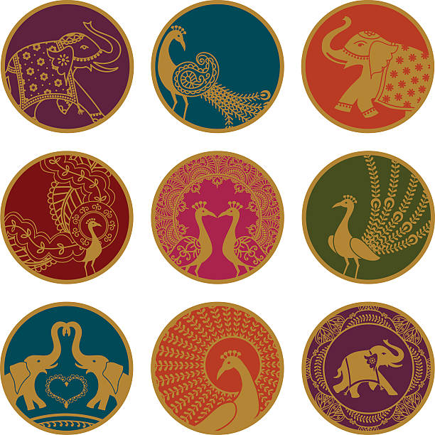 golden elephant and peace ozdoby - peacock stock illustrations