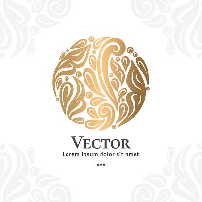 Golden emblem. Great for logo, monogram, invitation, flyer, menu, brochure.