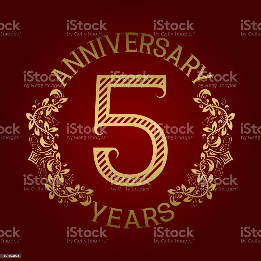 Golden emblem of fifth anniversary. vector art illustration