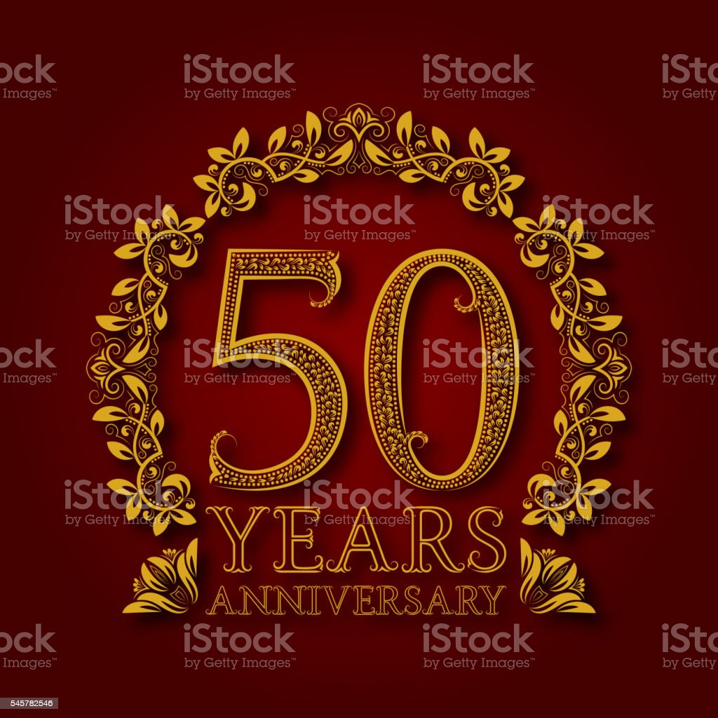 Golden emblem of fiftieth years anniversary. vector art illustration
