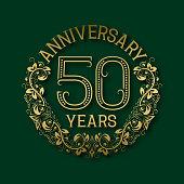 Golden emblem of fiftieth years anniversary.