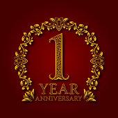 Golden emblem of first year anniversary.