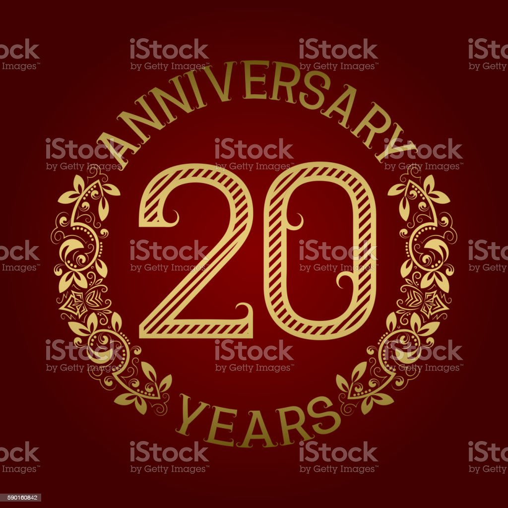 Golden emblem of twentieth anniversary vector art illustration