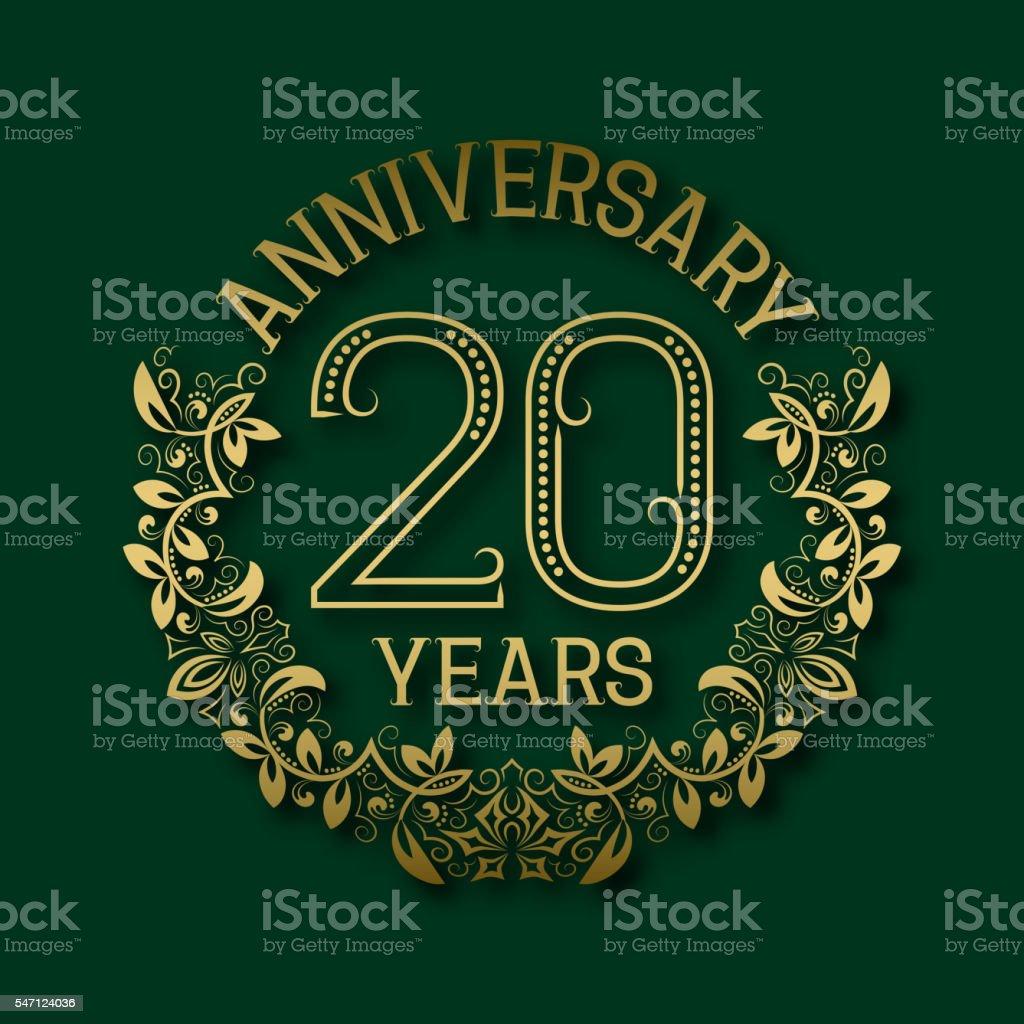 Golden emblem of twentieth years anniversary. vector art illustration