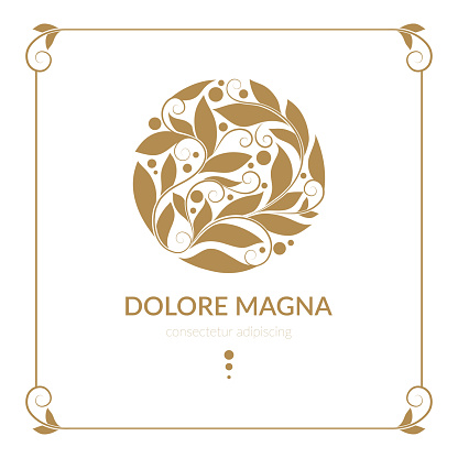 Golden emblem with decorative vector leaves. Elegant classic elements. Can be used for jewelry, beauty and fashion industry. Great for, logo, background or any desired idea.