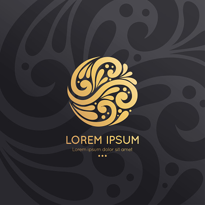 Golden emblem with in a circle shape. Can be used for jewelry, beauty and fashion industry. Great for logo, monogram, invitation, flyer, menu, background, or any desired idea.