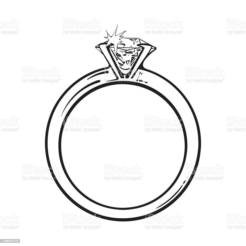 Golden engagement ring with a big shining diamond - ilustración de arte vectorial