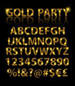 Golden English alphabet in Islamic style. Vector illustration