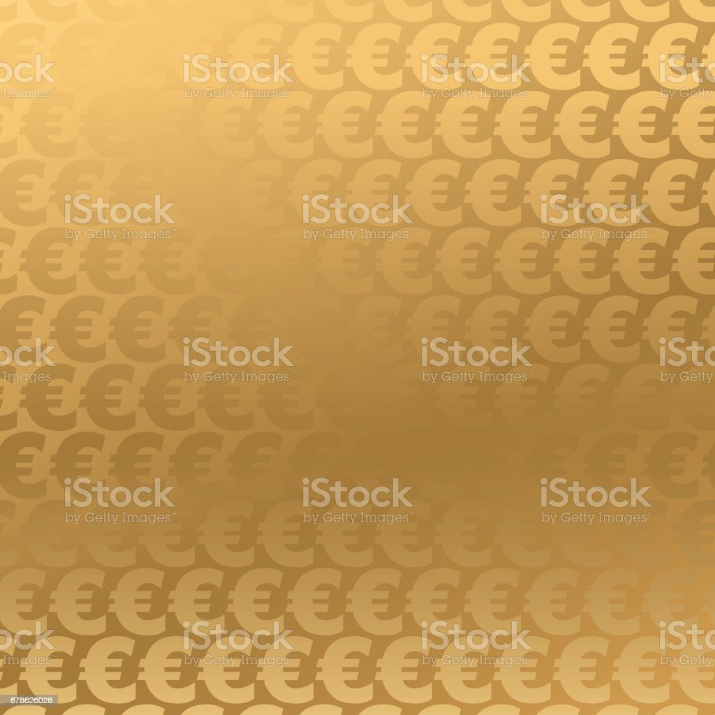 Golden Euro background vector art illustration