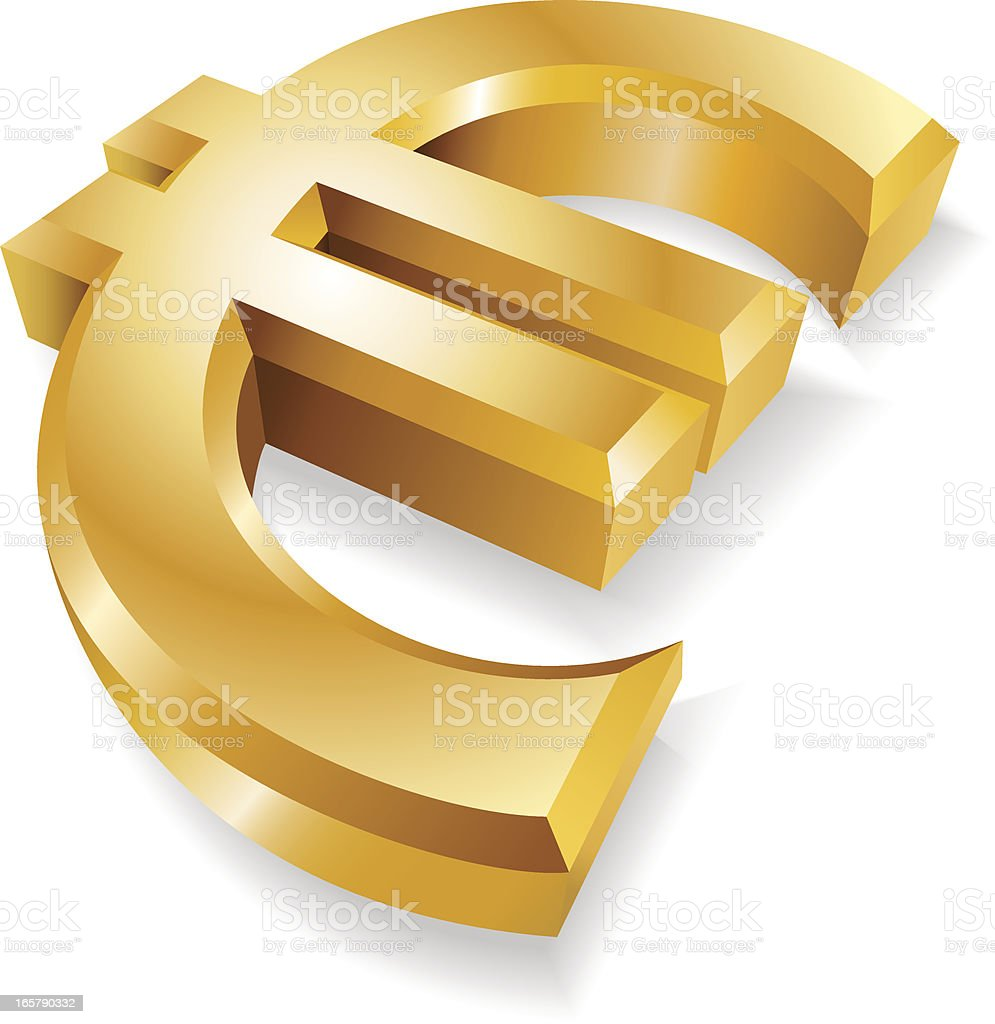 Golden Euro Symbol royalty-free golden euro symbol stock vector art & more images of bank account