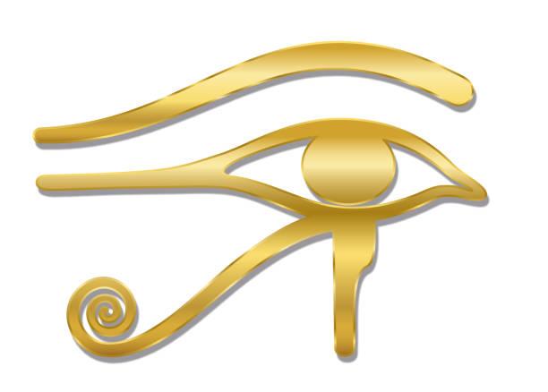 Golden Eye of Horus. Ancient Egyptian goddess Wedjat symbol of protection, royal power and good health. Similar to Eye of Ra. Isolated vector illustration on white background. vector art illustration