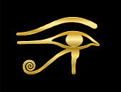 Golden Eye of Horus on black background. Ancient Egyptian goddess Wedjat symbol of protection, royal power and good health. Similar to Eye of Ra.