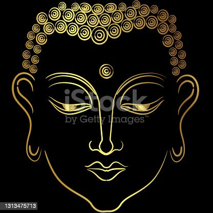 istock Golden face of  buddha with paint golden border element 1313475713