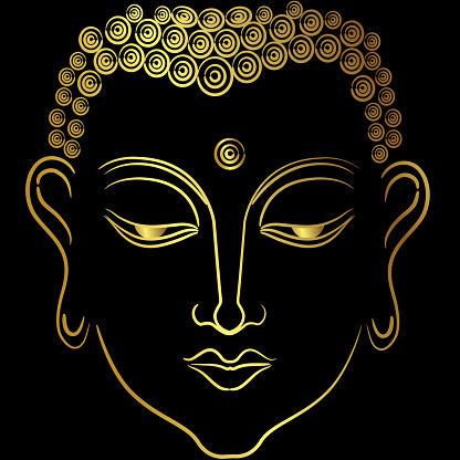 Golden face of  buddha with paint golden border element