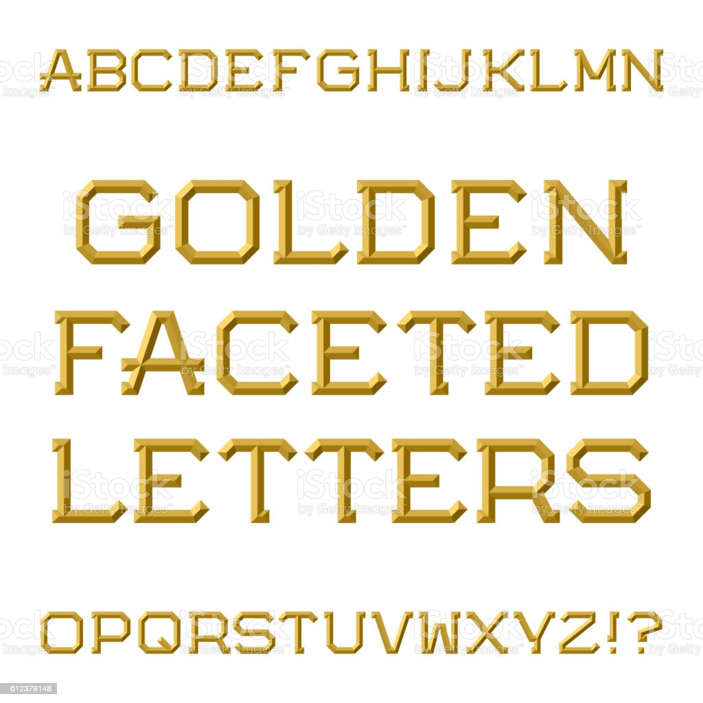 Golden Faceted Capital Letters Trendy And Stylish Font Stock