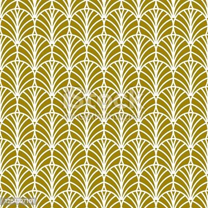 istock Golden fan art deco pattern 1254697191