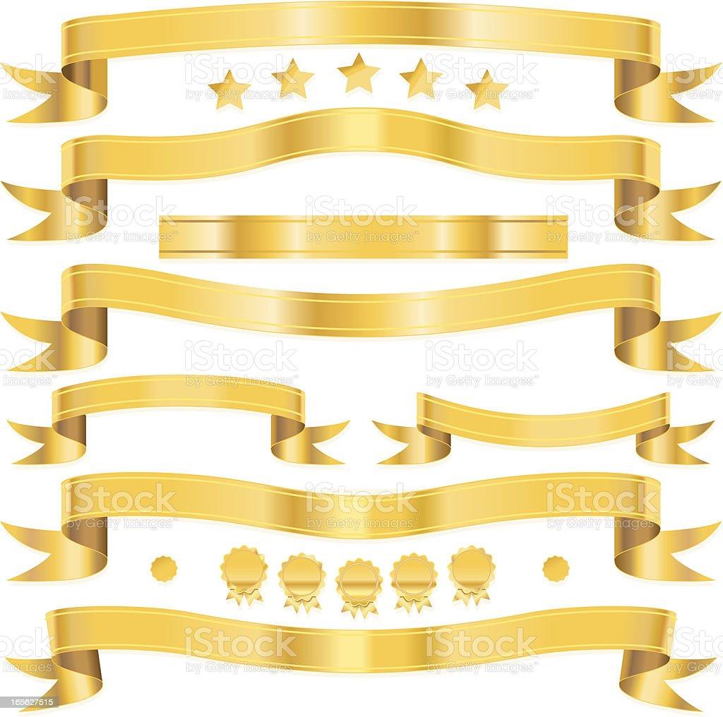 Golden fan tail ribbons. vector art illustration