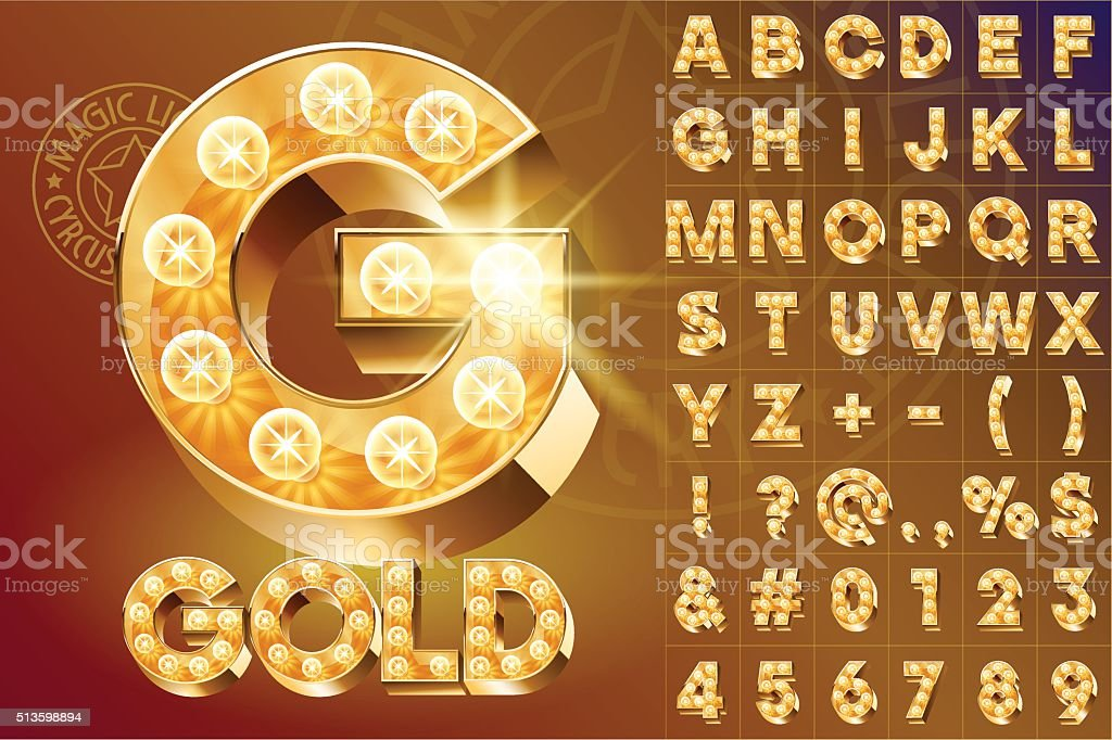 Golden fantastic vector light up font with lamp vector art illustration