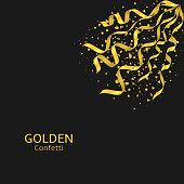 Golden confetti background, Flying ribbons confetti. Festive holiday background