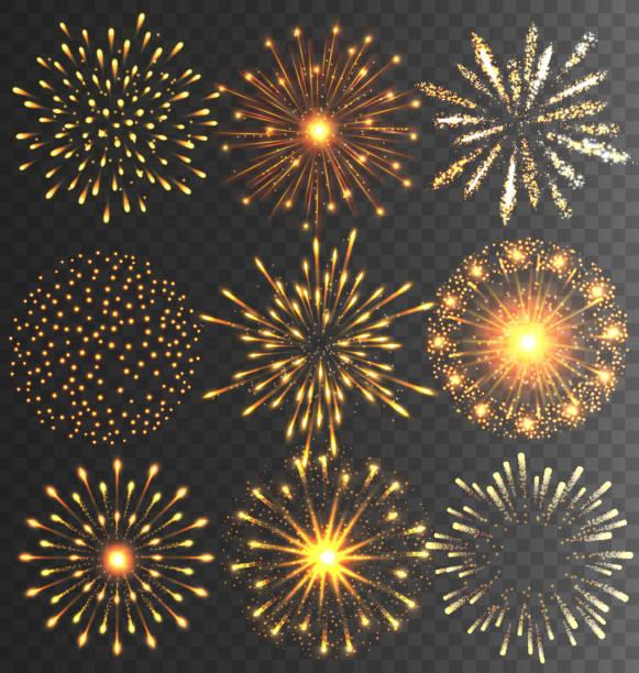 złota świąteczne sztucznych ogni salute pęknięcie na czarny - new year stock illustrations