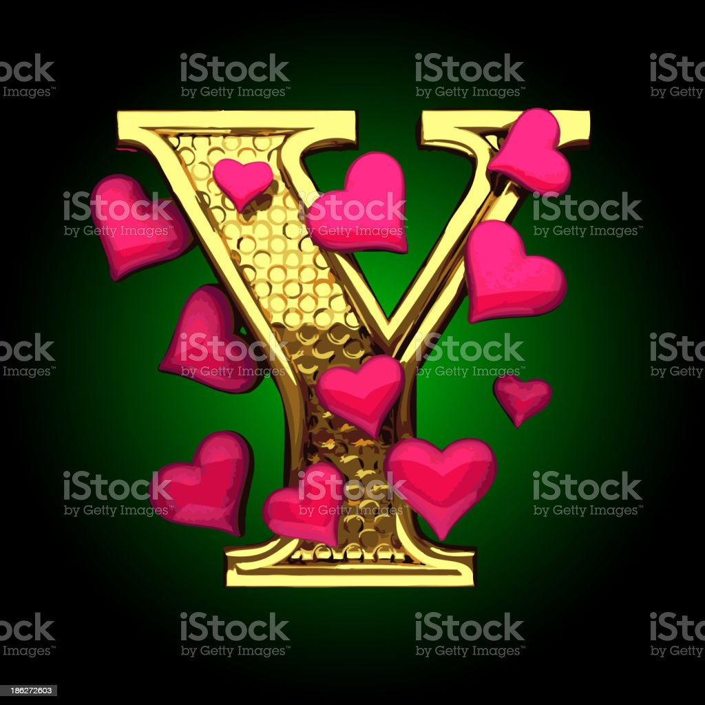 Golden Figure with Hearts y royalty-free stock vector art