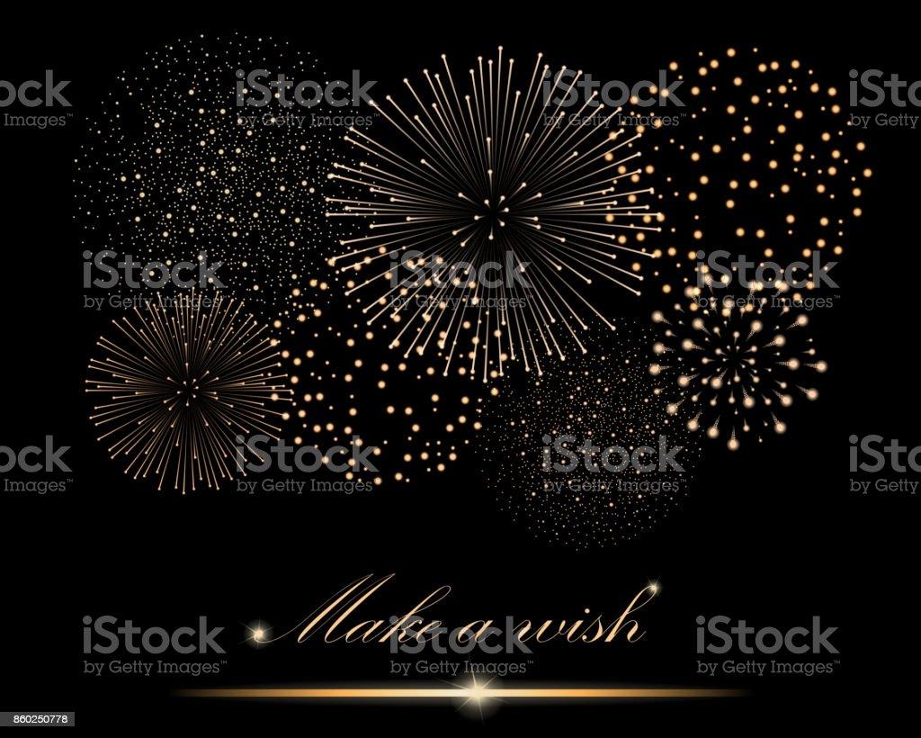 """Golden firework show on black background. """"Make a wish"""" concept. Vector illustration Golden firework show on black background. """"Make a wish"""" concept. Vector illustration Abstract stock vector"""