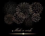 """Golden firework show on black background. """"Make a wish"""" concept. Vector illustration"""
