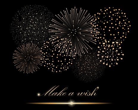 Golden Firework Show On Black Background Make A Wish Concept Vector Illustration Stock Illustration - Download Image Now