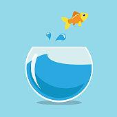 Golden fish jumping outside the fisbowl. Vector illustration.
