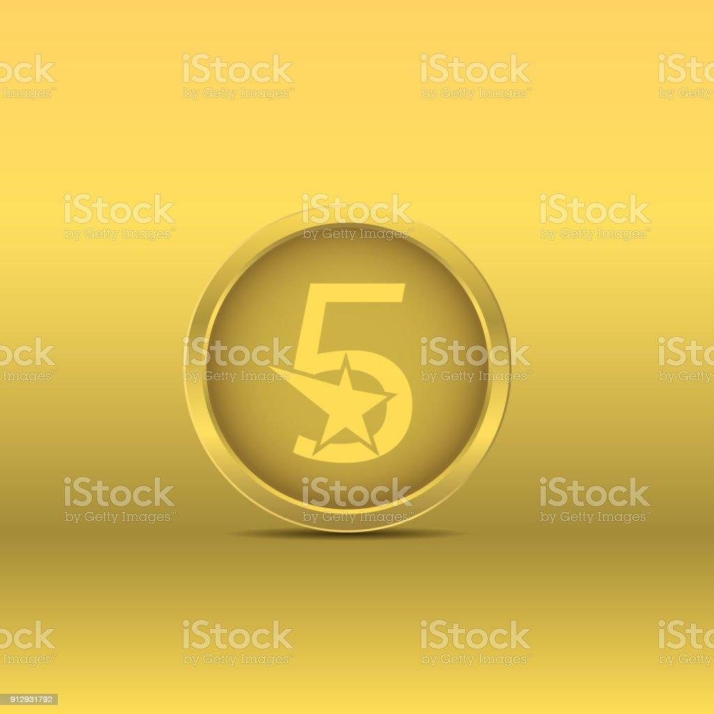 Icono de cinco estrellas oro - ilustración de arte vectorial