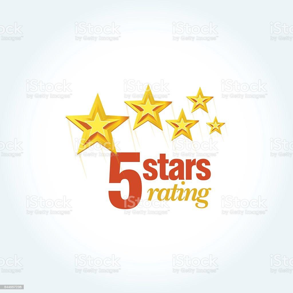 Golden Five stars round emblem template. vector art illustration