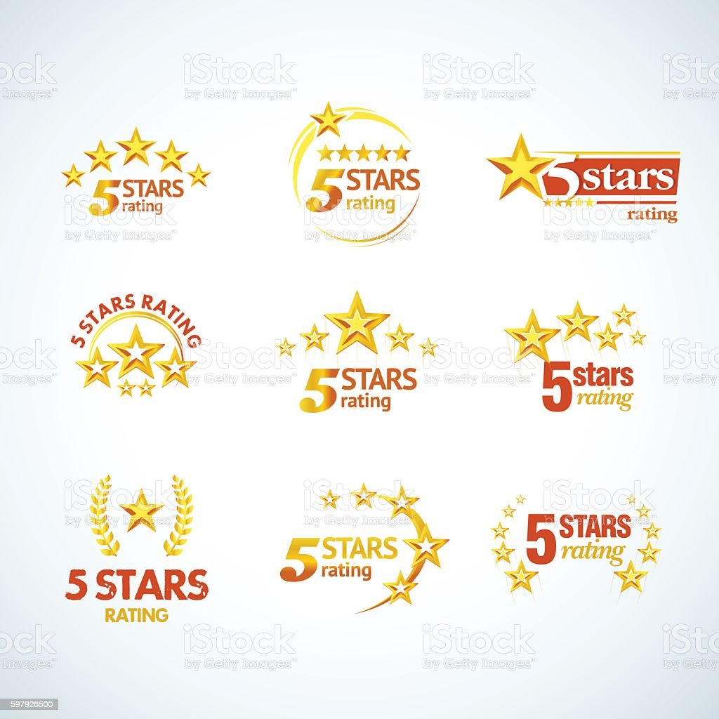 Golden Five stars round emblems set vector art illustration