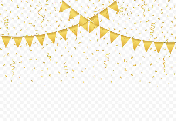 Golden Flags with Confetti background vector Golden Flags with Confetti And gold Ribbons on transparent background, Festive Illustration of Falling Shiny Glitters, Party celebration, buntings garlands vector party conference stock illustrations