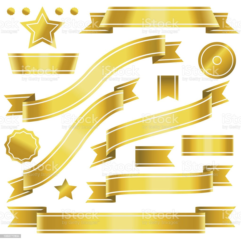 Golden flags with white inlays vector art illustration