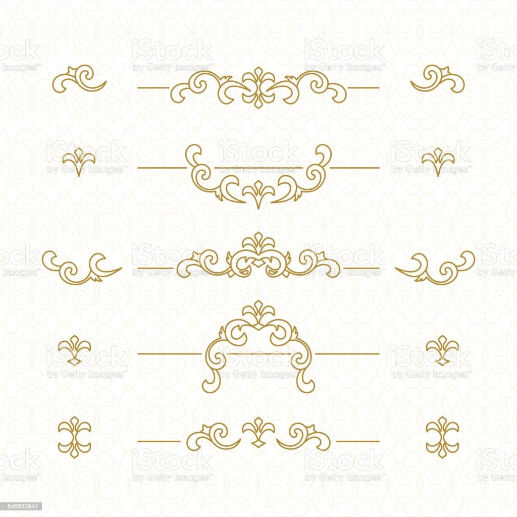 Golden floral borders. vector art illustration