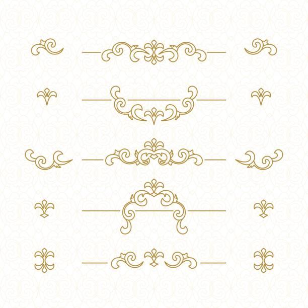 stockillustraties, clipart, cartoons en iconen met golden floral grenzen. - maaswerk