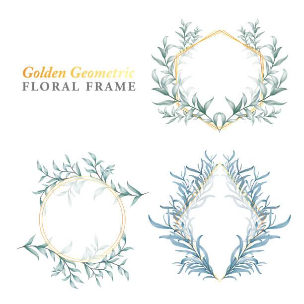 goldene floralrahmen geometrische aquarell blau blätter - clipart goldene hochzeit stock-grafiken, -clipart, -cartoons und -symbole