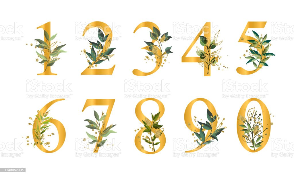 Golden floral numbers with green leaves and gold splatters isolated...