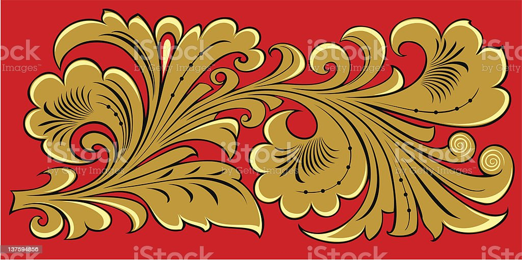 Golden floral ornament on red royalty-free stock vector art