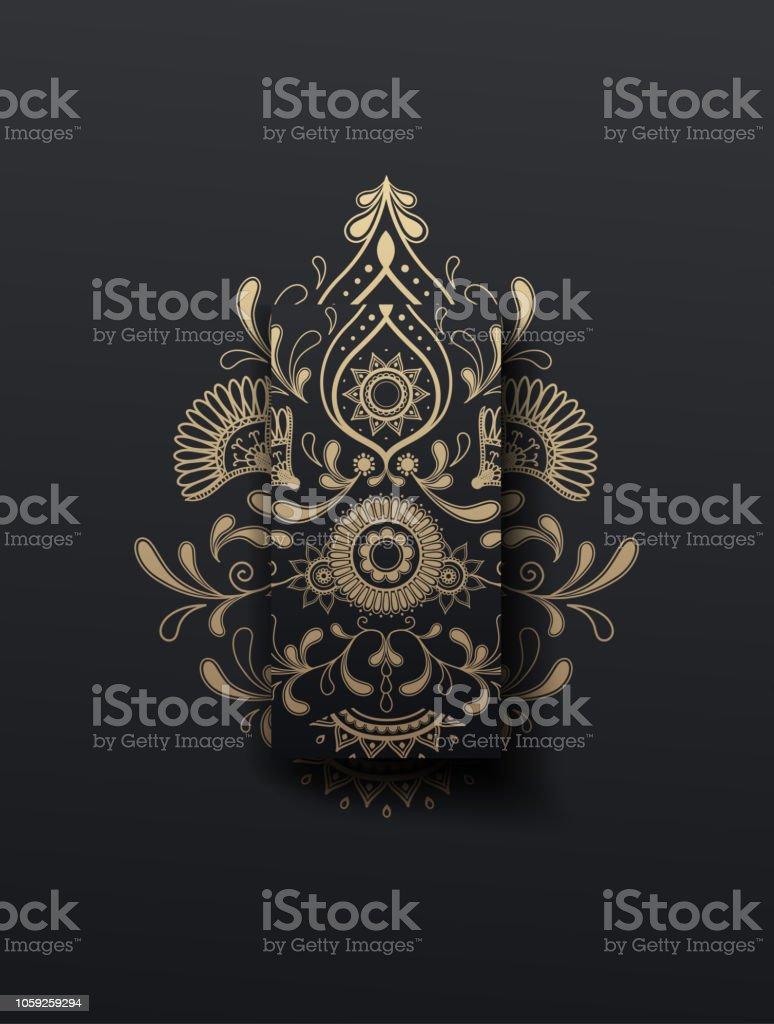 黄金の花ペイズリーのベクトル イラストレーター飾り携帯壁紙の背景