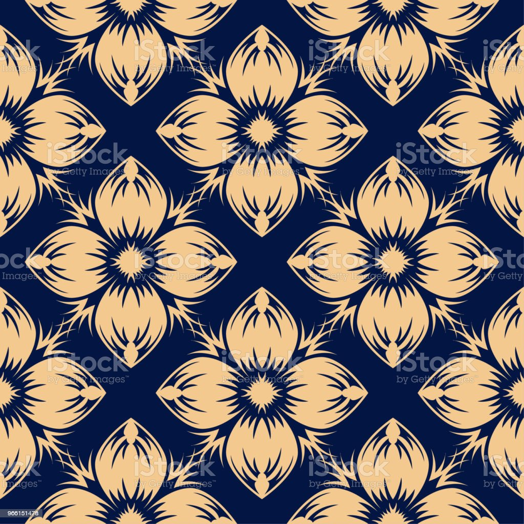 Golden floral seamless design on blue background - Royalty-free Abstract stock vector