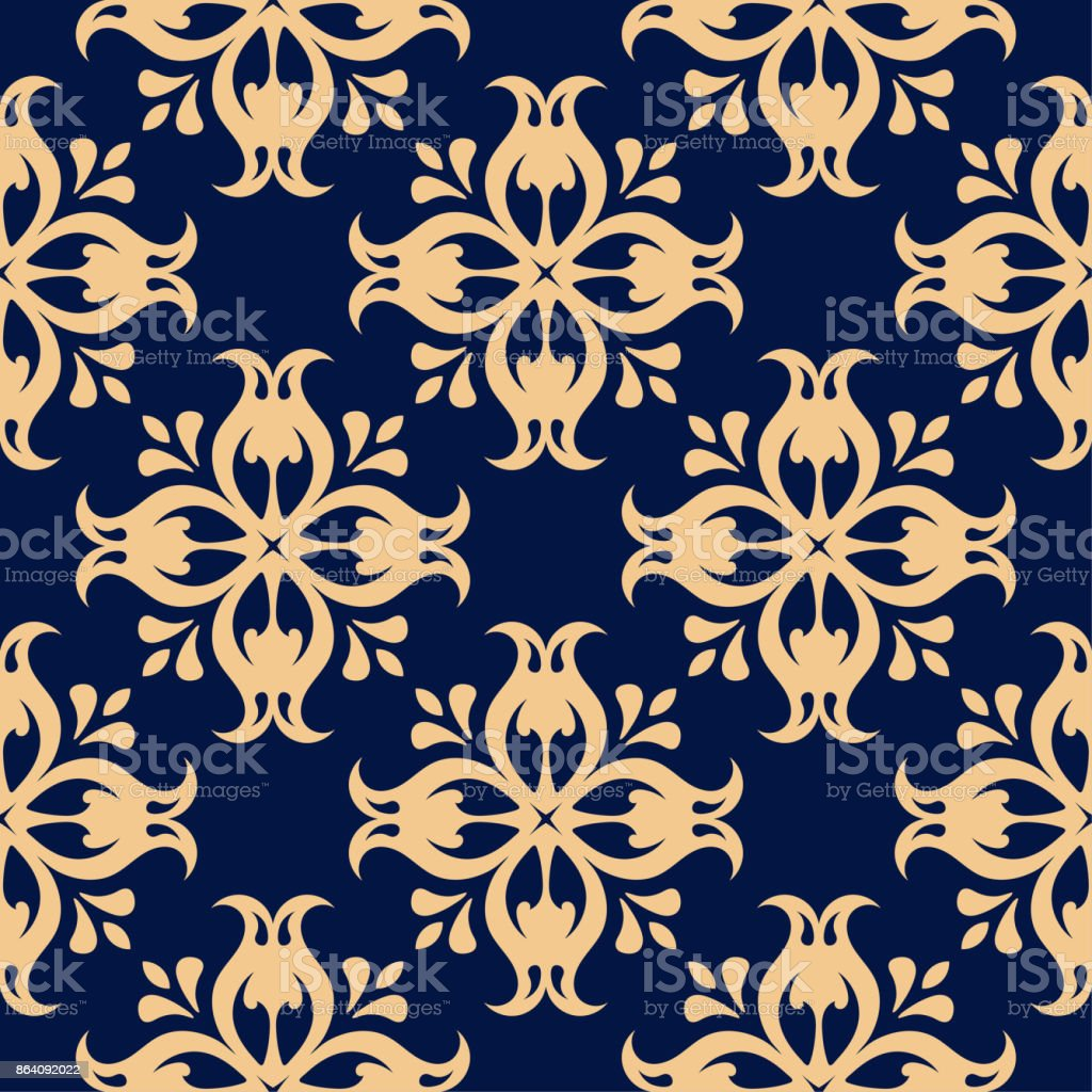 Golden floral seamless pattern on blue background royalty-free golden floral seamless pattern on blue background stock vector art & more images of abstract