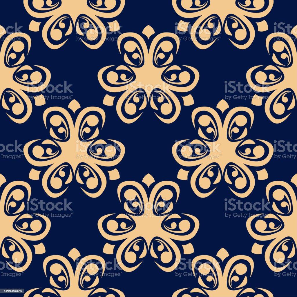 Golden floral seamless pattern on blue background golden floral seamless pattern on blue background - stockowe grafiki wektorowe i więcej obrazów abstrakcja royalty-free