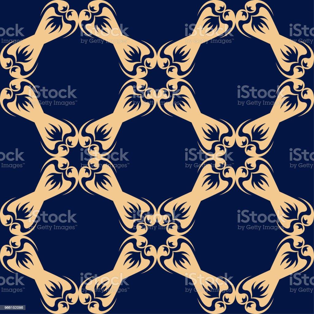 Golden floral seamless pattern on blue background - Векторная графика Абстрактный роялти-фри