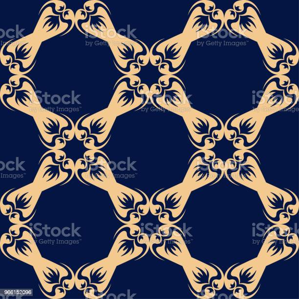 Gyllene Sömlösa Blommönster På Blå Bakgrund-vektorgrafik och fler bilder på Abstrakt