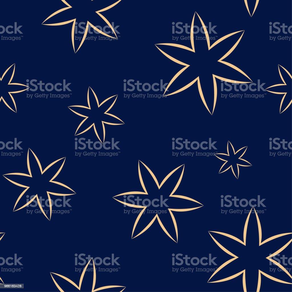 Золотой цветочный бесшовный узор на синем фоне - Векторная графика Абстрактный роялти-фри