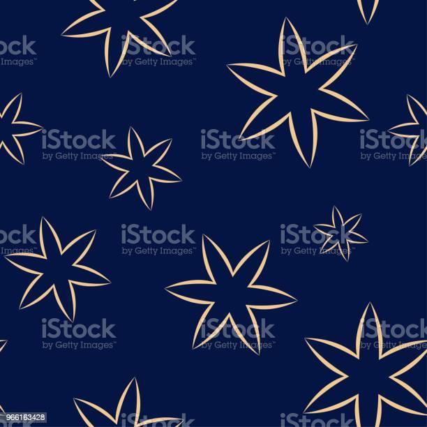 Золотой Цветочный Бесшовный Узор На Синем Фоне — стоковая векторная графика и другие изображения на тему Абстрактный
